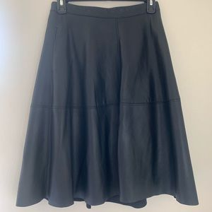 White House Black Market Leather A-line Skirt